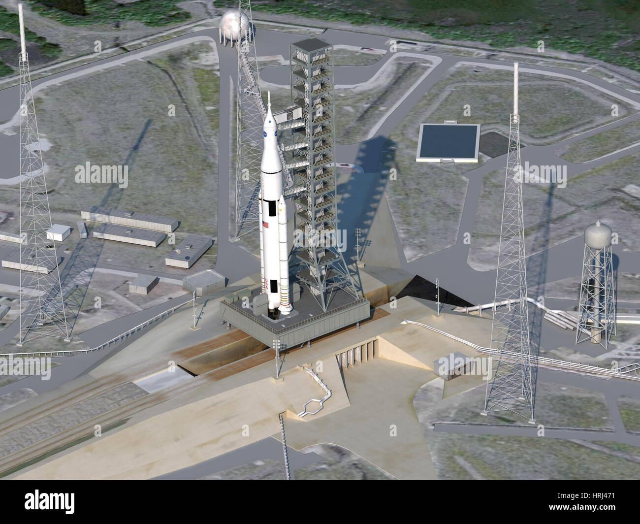Concepto artístico del cohete SLS en Launchpad Imagen De Stock