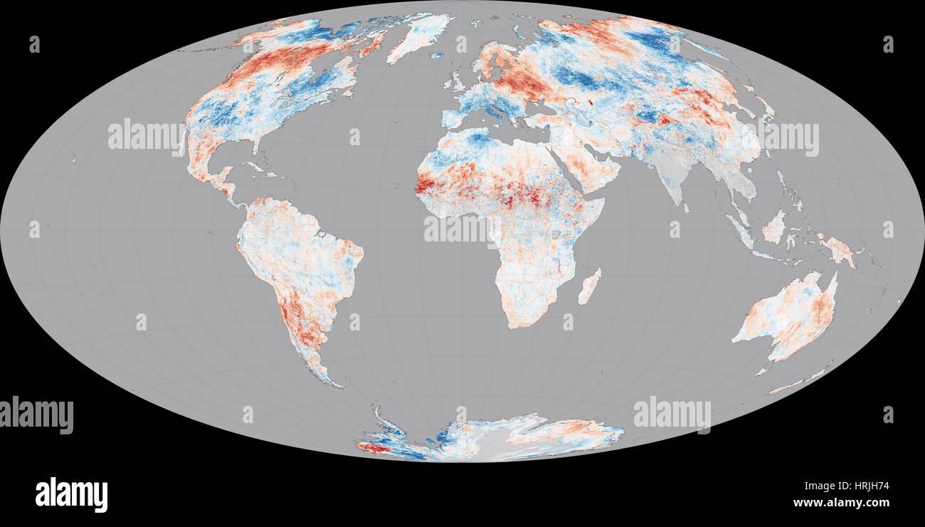 El calentamiento global, las anomalías de LST, 2014 Imagen De Stock