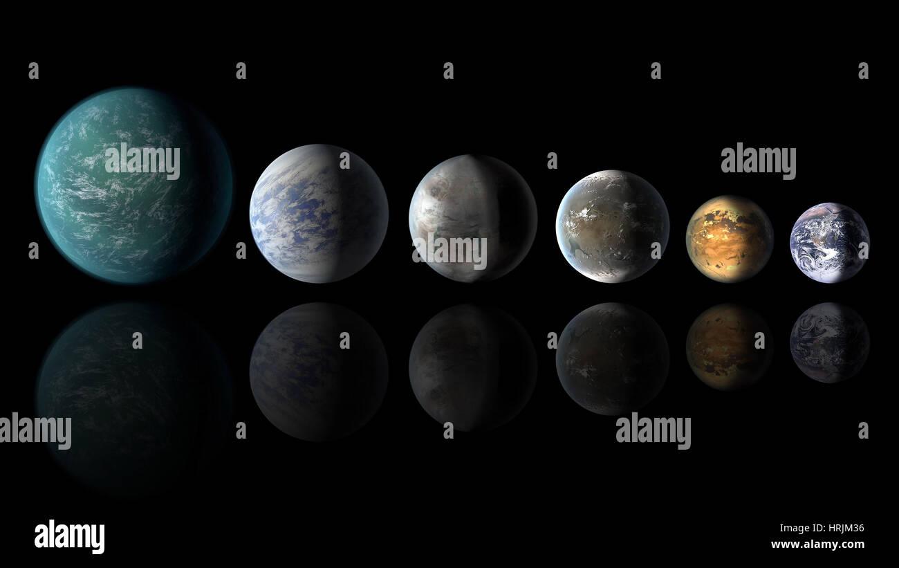 Kepler exoplanetas similares a la tierra Imagen De Stock