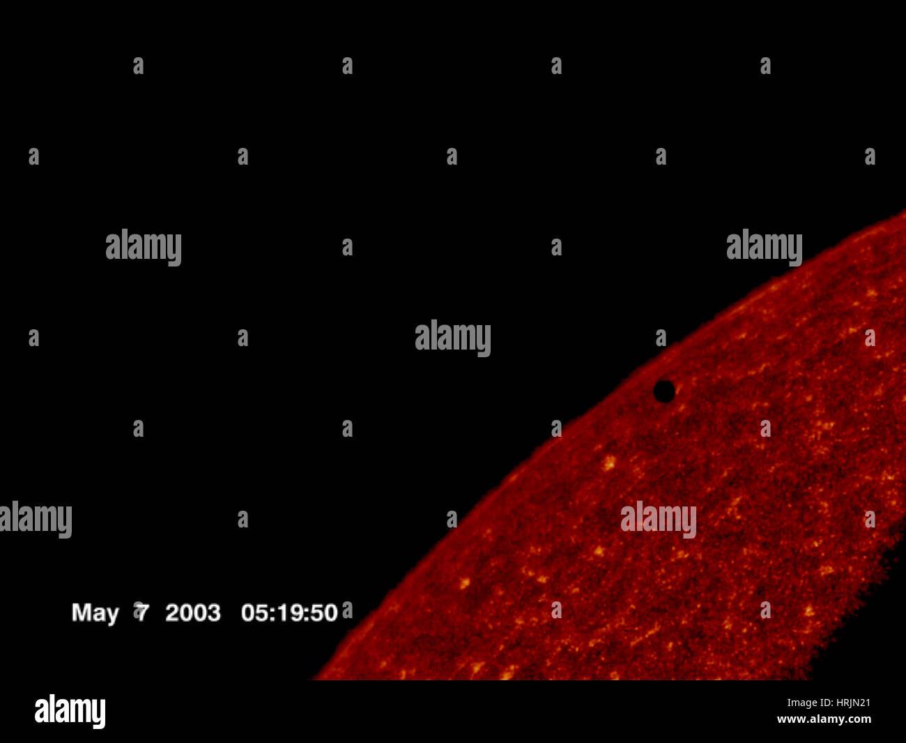 El tránsito de Mercurio, imagen TRACE, 2003 Imagen De Stock