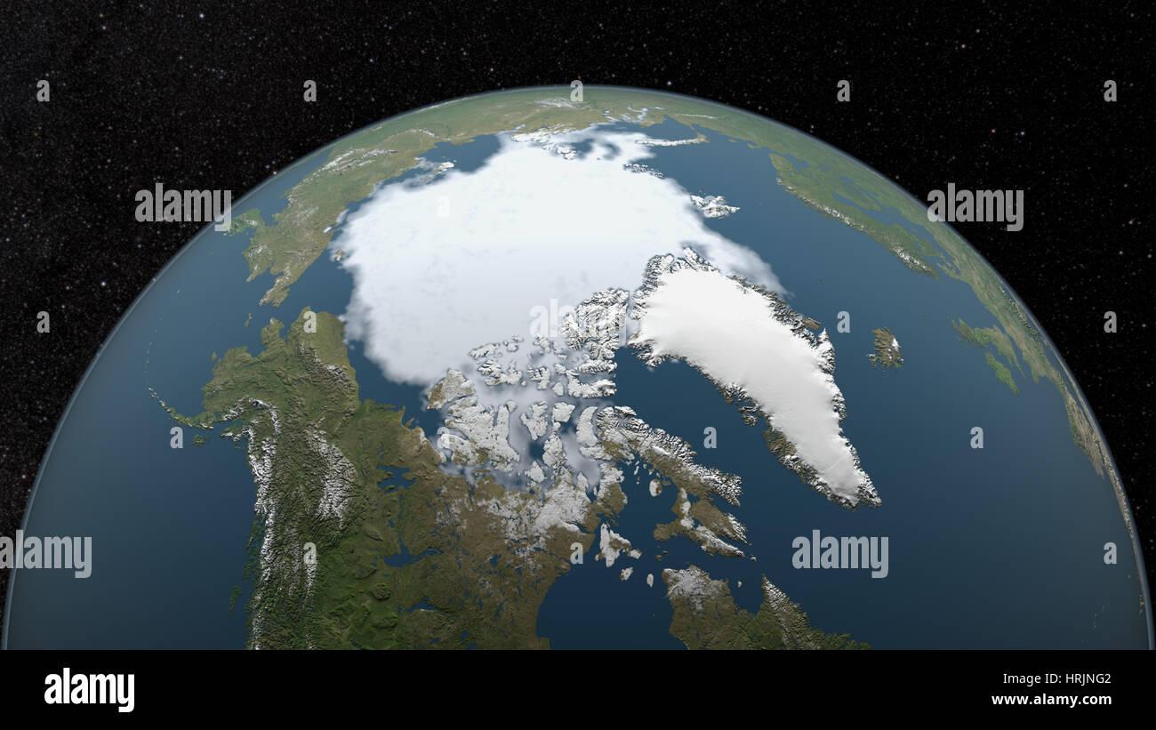 Mínima del hielo marino del Ártico, 1980 Imagen De Stock