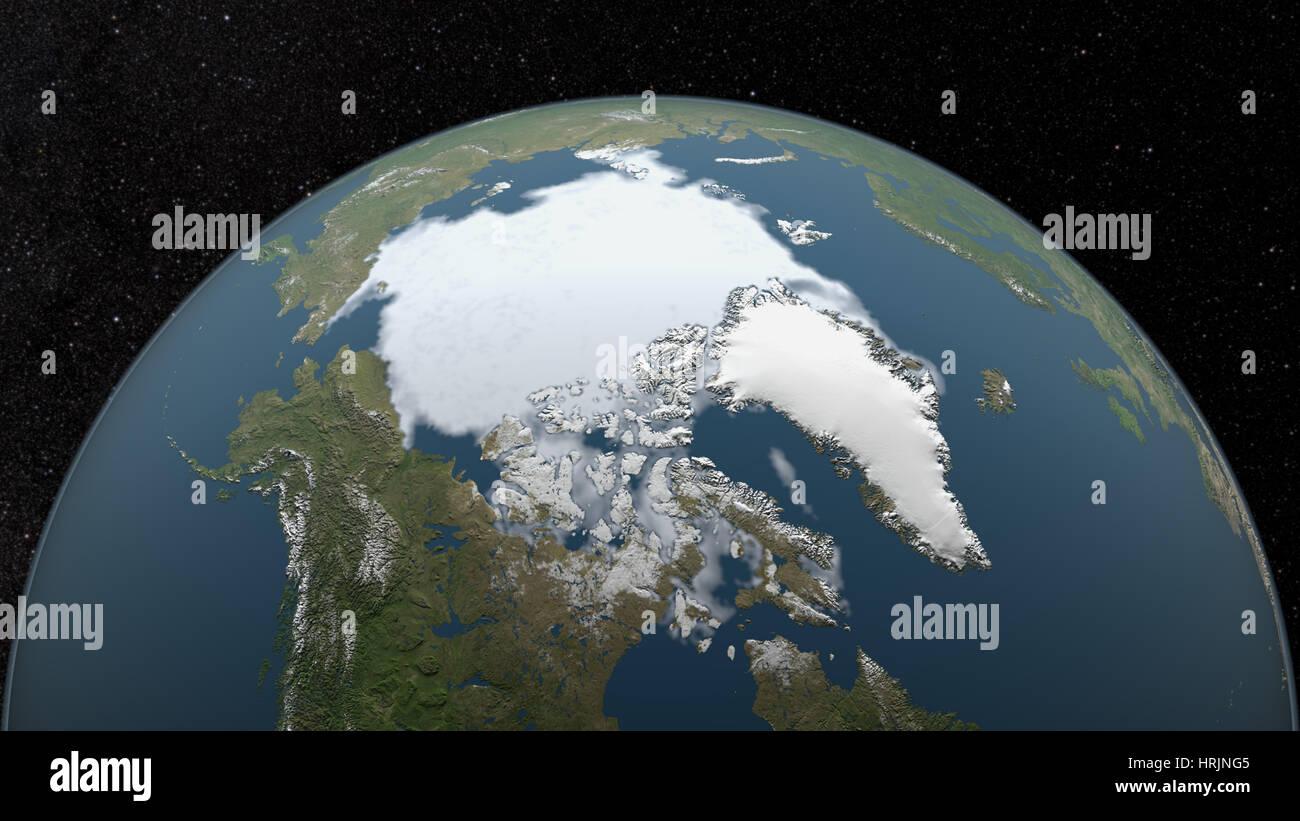 Mínima del hielo marino del Ártico, 1983 Imagen De Stock