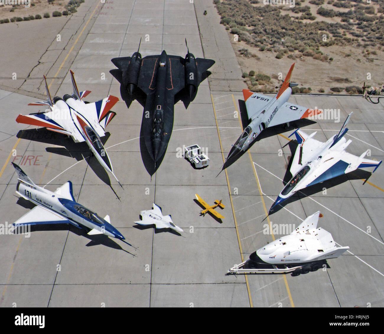 La flota de aviones de investigación Dryden, 1997 Imagen De Stock
