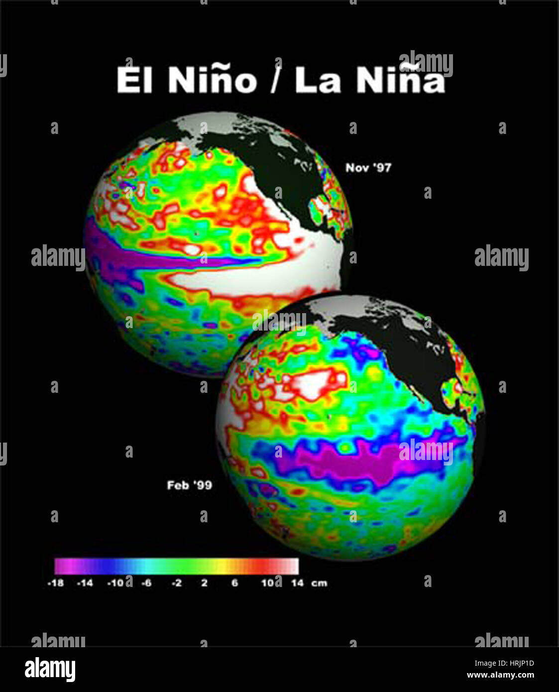 El Ni̱o - 1997, La Ni̱a - 1999 Imagen De Stock