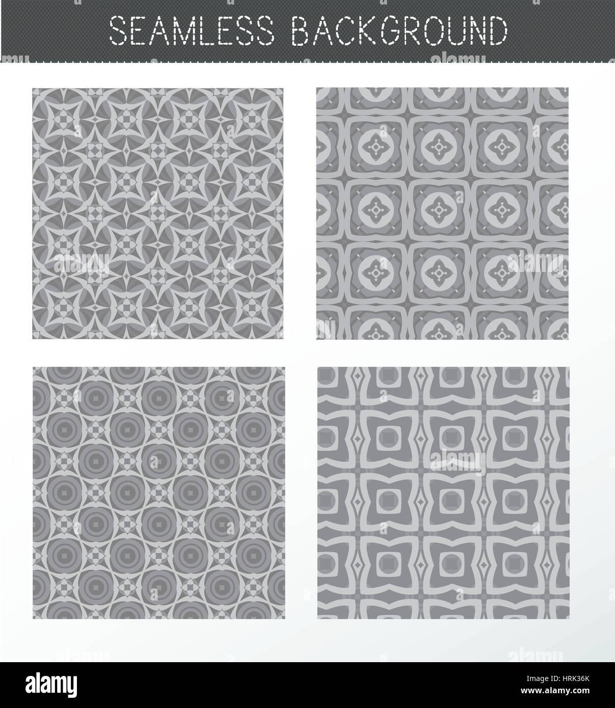 Colección de fondos de grises sin fisuras. Conjunto de azulejos y patrones de celosía. Vintage elementos Imagen De Stock