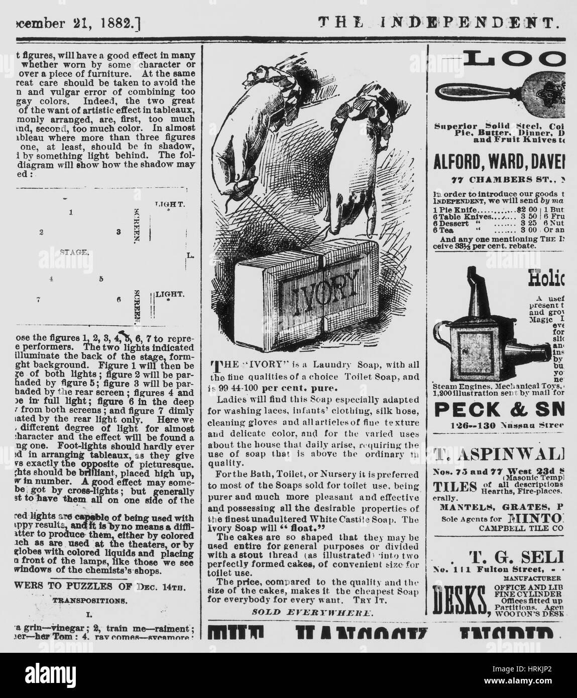 Primer jabón Ivory Ad Foto de stock