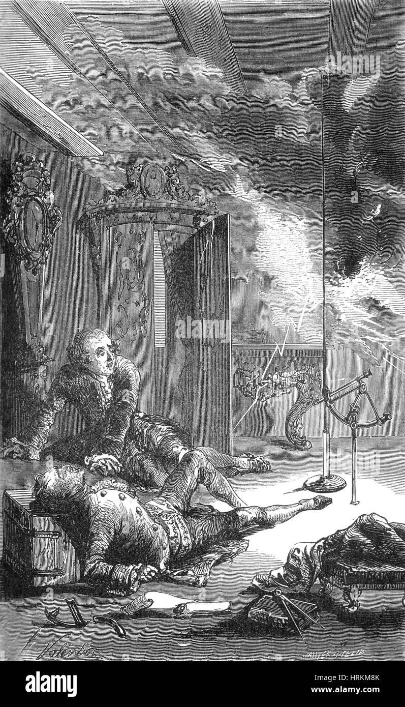 La muerte de Georg Richmann durante el experimento, 1753. Foto de stock