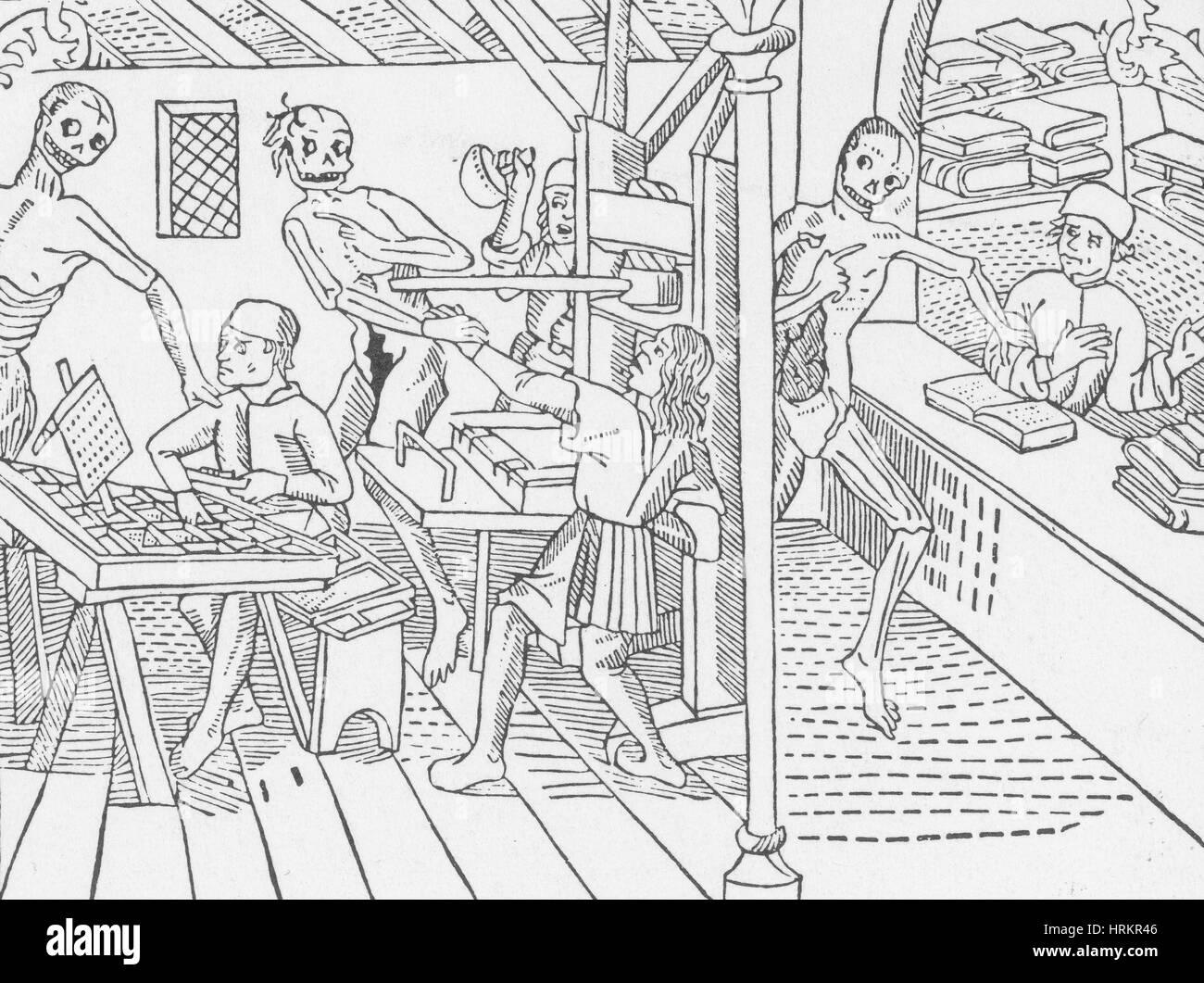 Ataques de muerte Print Shop, danza macabra, 1499 Imagen De Stock