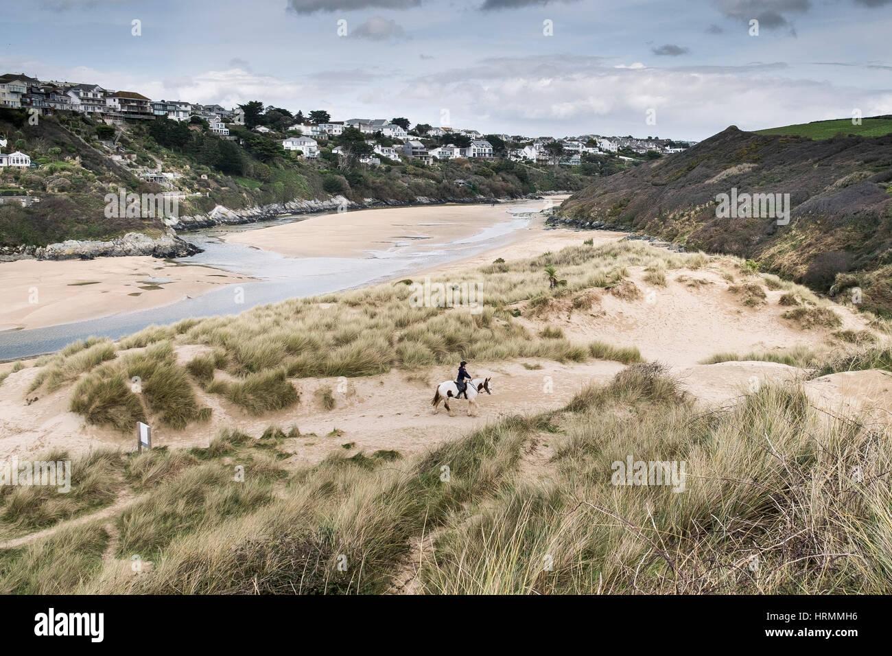Jinete dunas crantock newquay cornwall Inglaterra Imagen De Stock