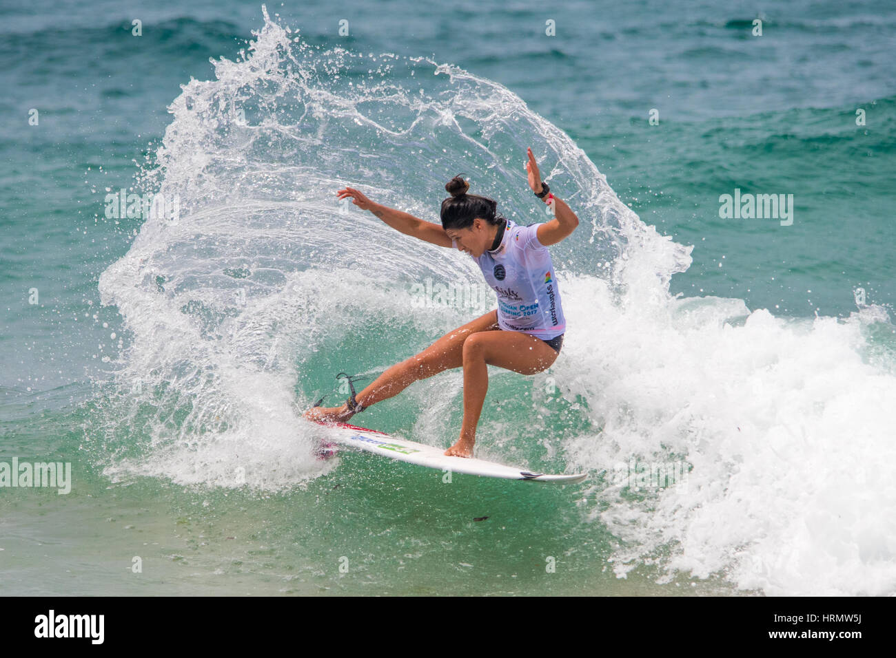 Sydney, Australia - 3 de marzo 2017: El Abierto de Australia de surf evento deportivo en Manly Beach, Australia Foto de stock