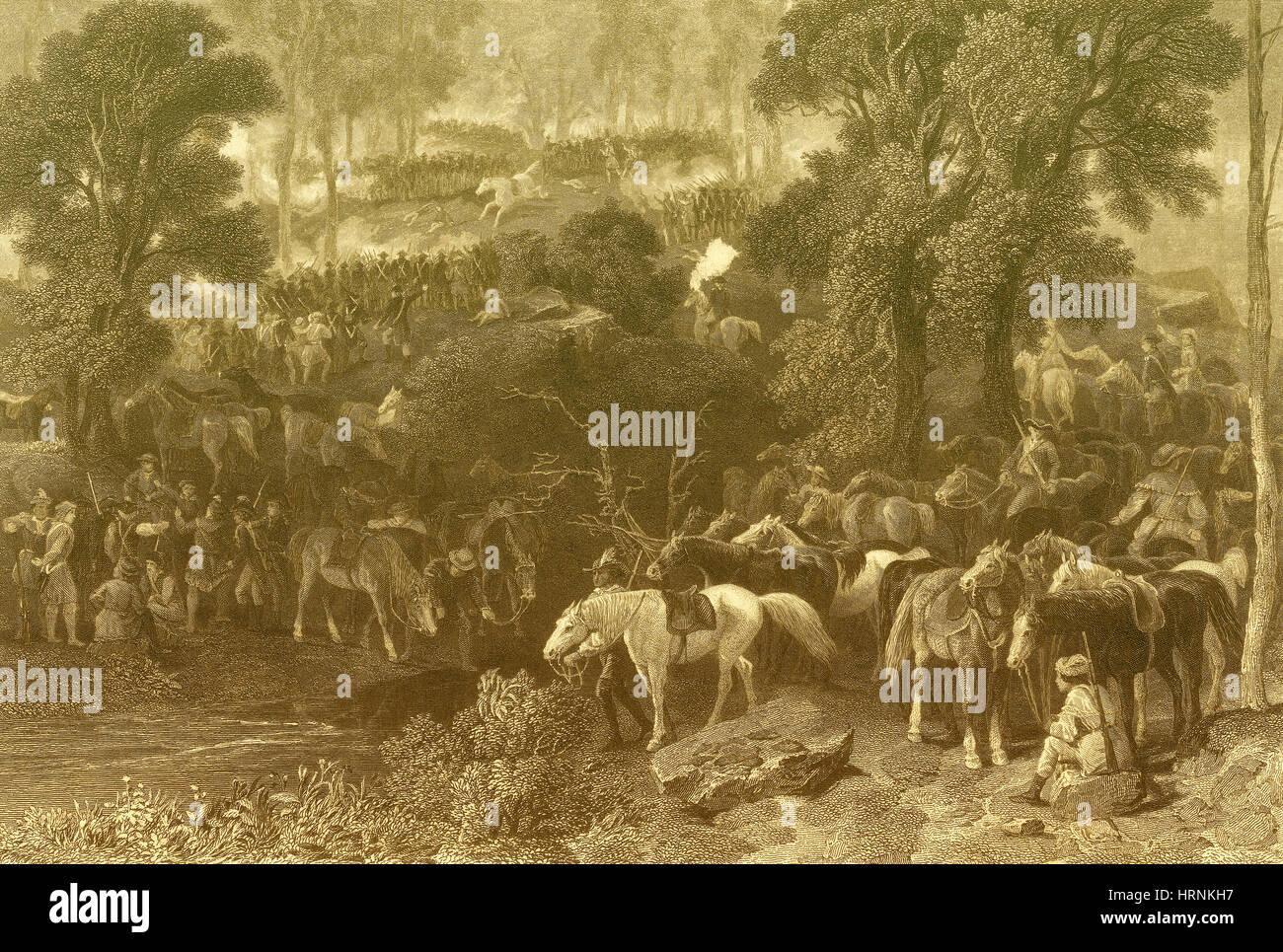 Batalla de Kings Mountain, 1780 Foto de stock