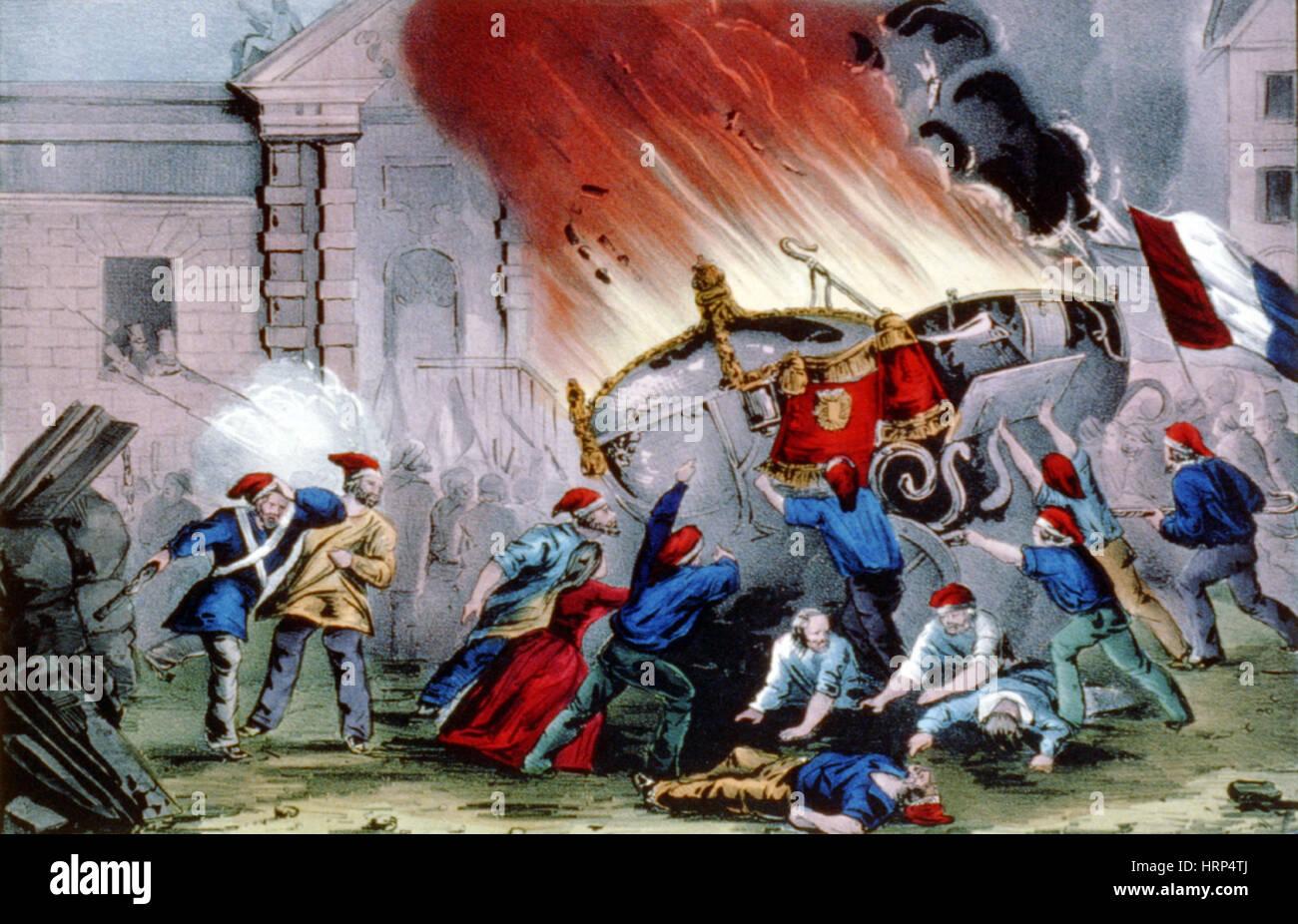 La abdicación de rey Louis Philippe, 1848 Foto de stock