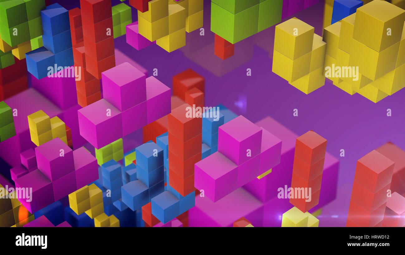 Caida De Bloques Estilo Tetris Multicolor De Bloques Que Caen