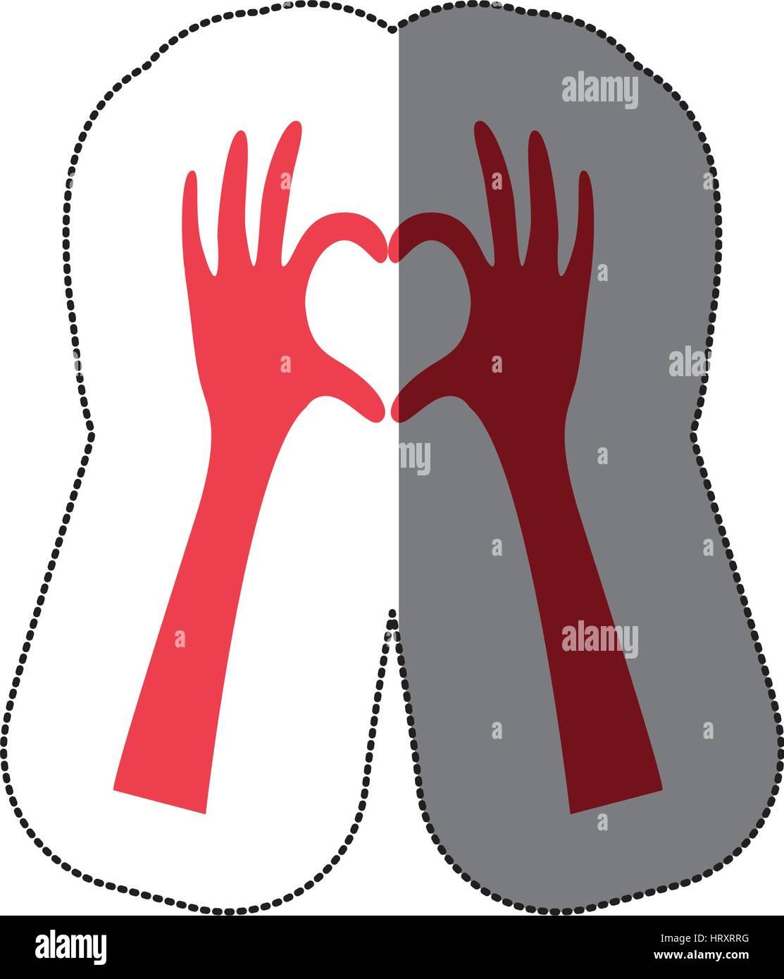 Adhesivo Colorido De Las Manos Formando Corazón Plana Icono