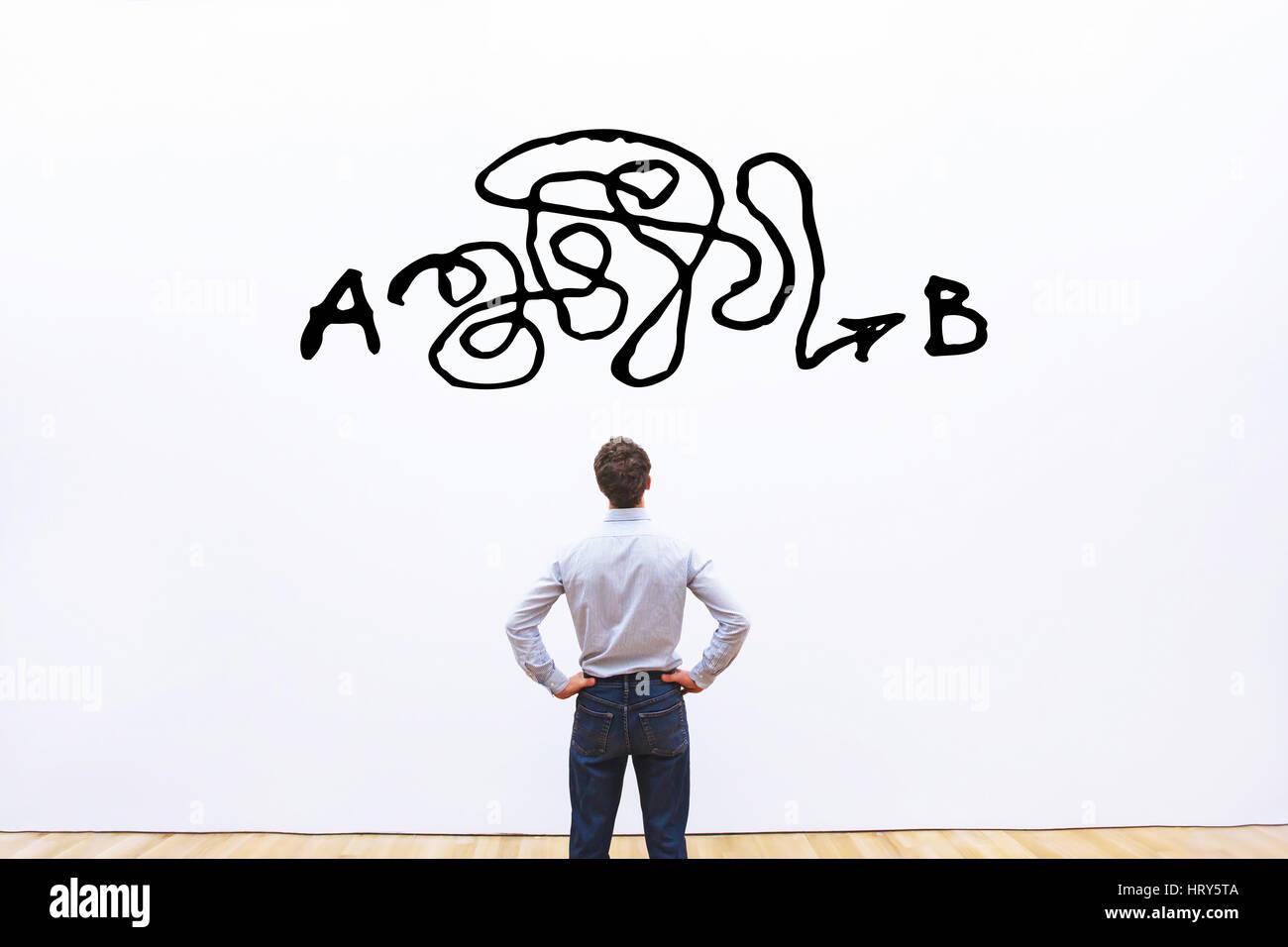 Solución de problemas, solución complicada desde un punto A hasta un punto B, idea de negocio o concepto Imagen De Stock