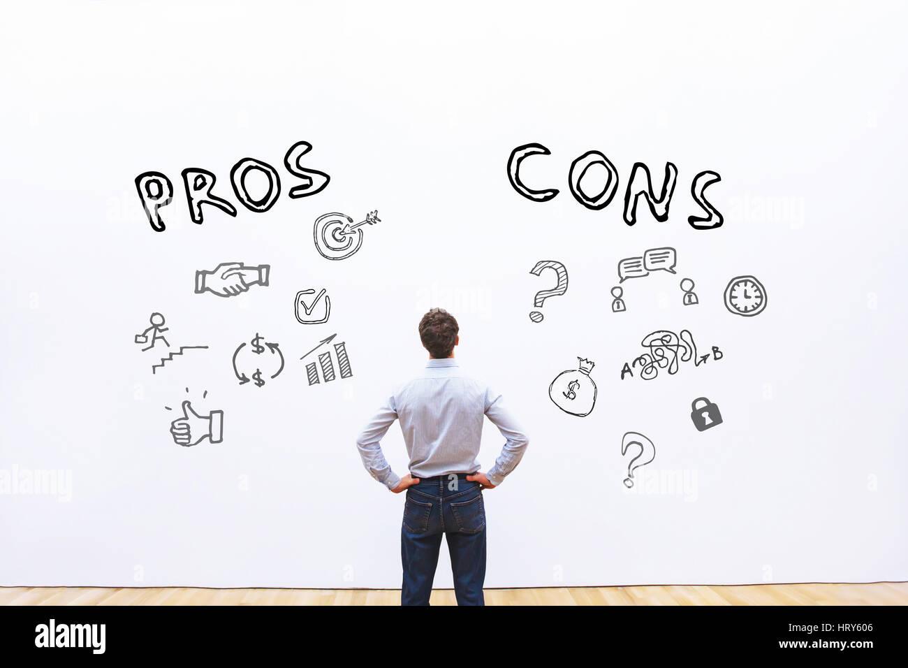 Los pros y los contras, ventaja desventaja concepto Imagen De Stock