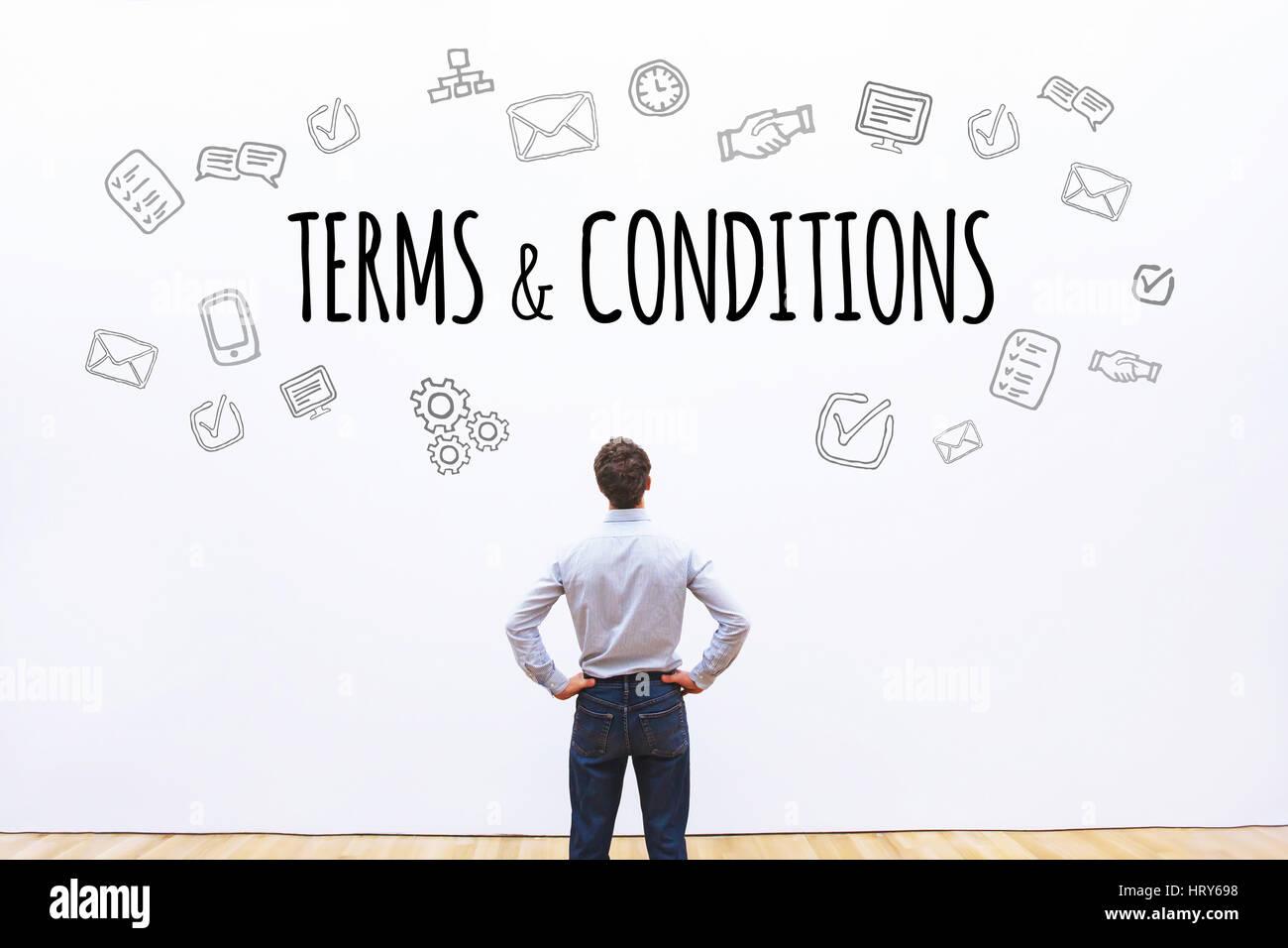 Términos y condiciones, la palabra concepto antecedentes Foto de stock