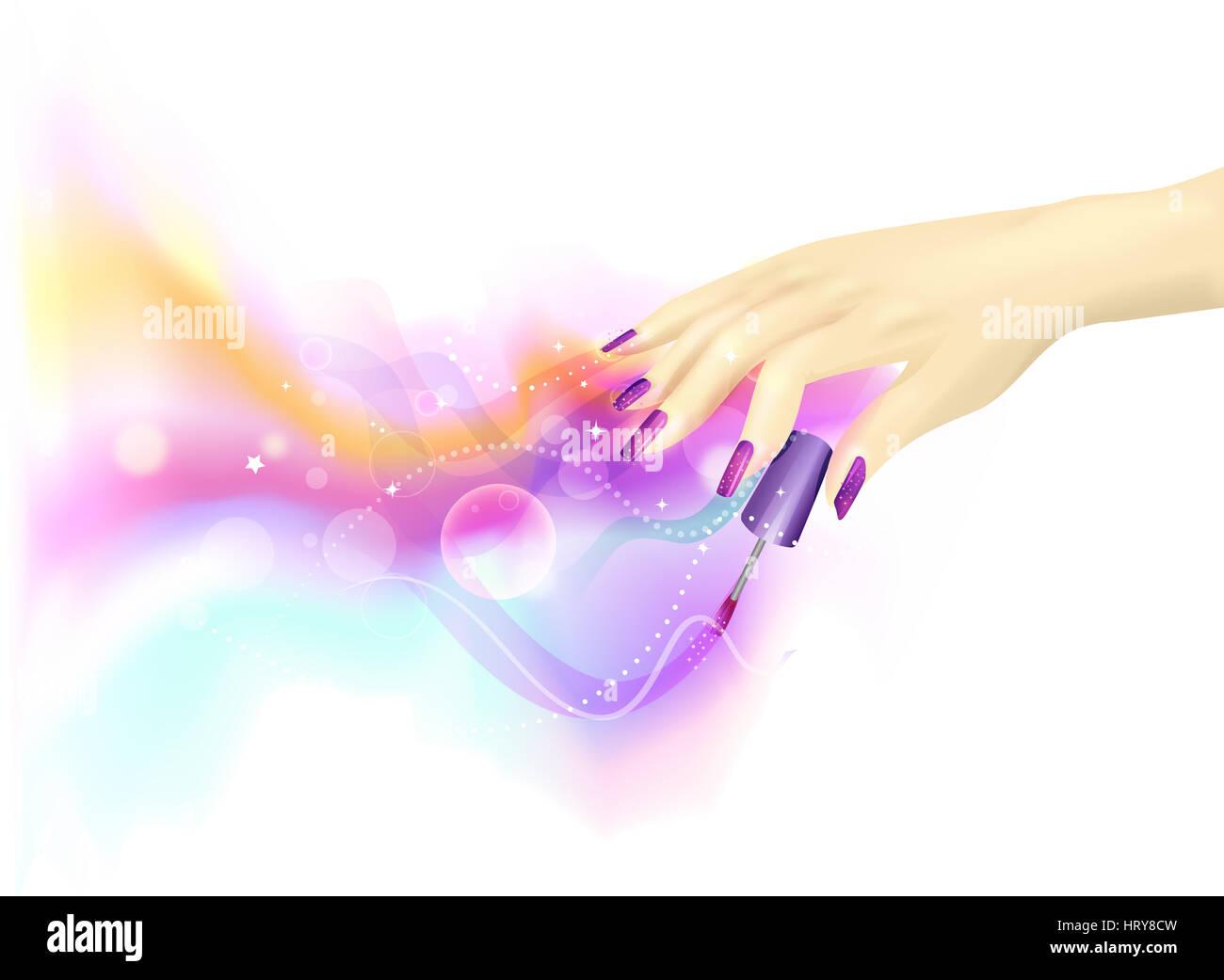 Ilustración recortada de una mujer jugando con esmalte de uñas - EPS10 Imagen De Stock