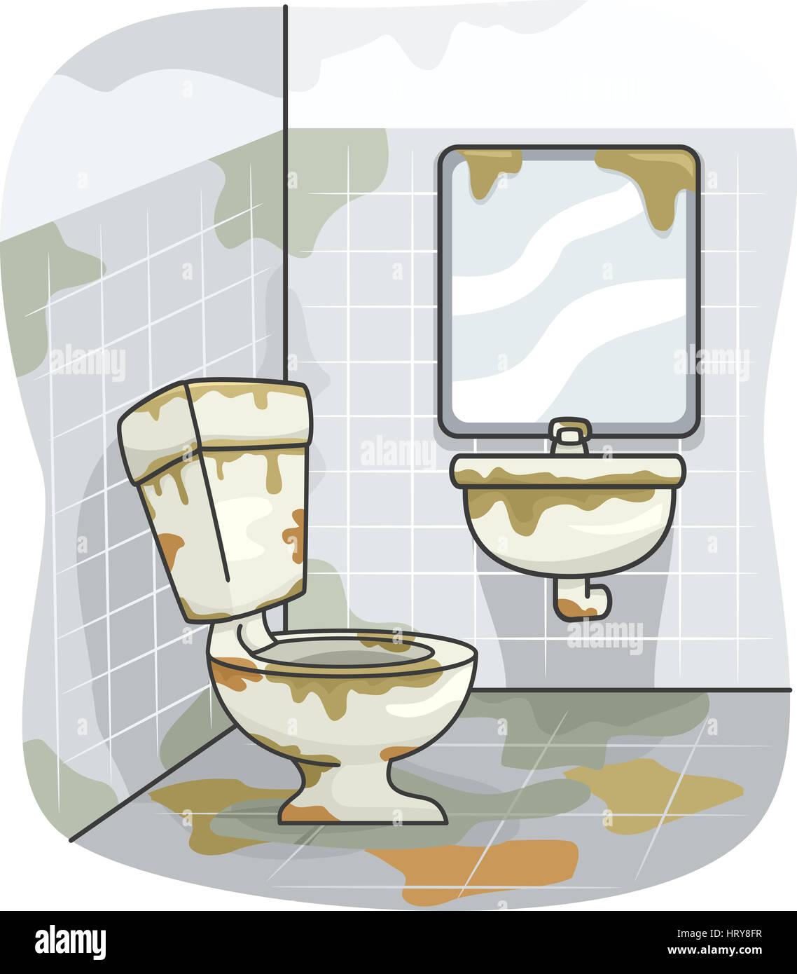 Ilustración de un inodoro sucio cubiertos de suciedad ...