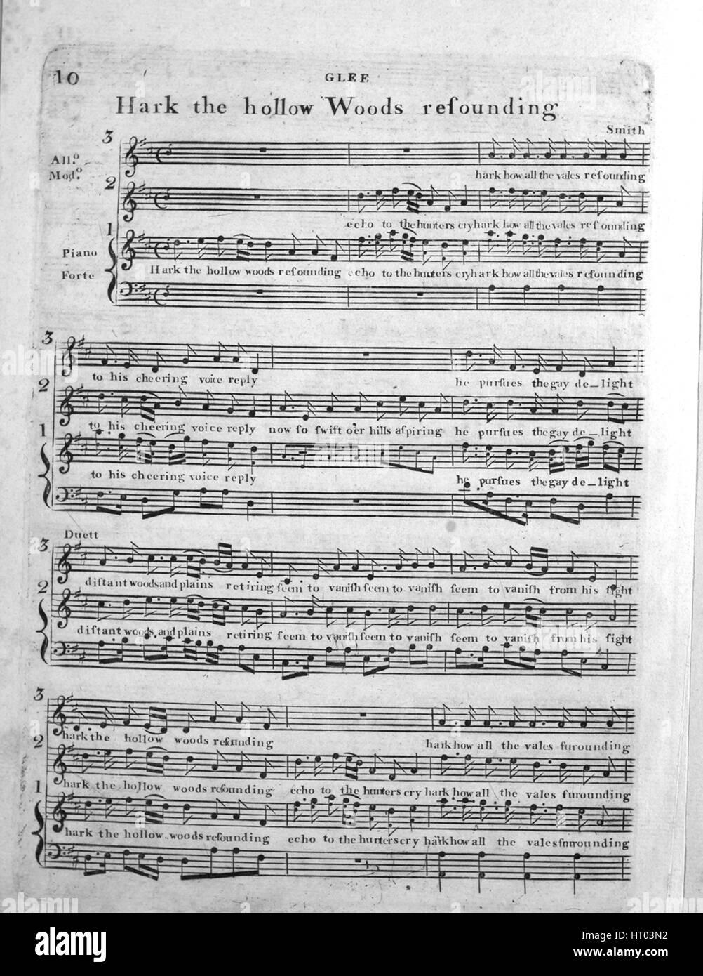 """Imagen de cubierta de partituras de la canción """"Glee Hark el hueco Woods resonante', con notas de Imagen De Stock"""