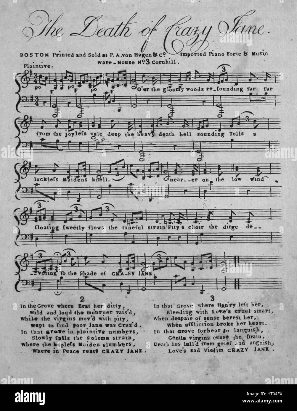 """Imagen de cubierta de partituras de la canción 'La muerte de Crazy Jane"""", con notas de autoría Imagen De Stock"""