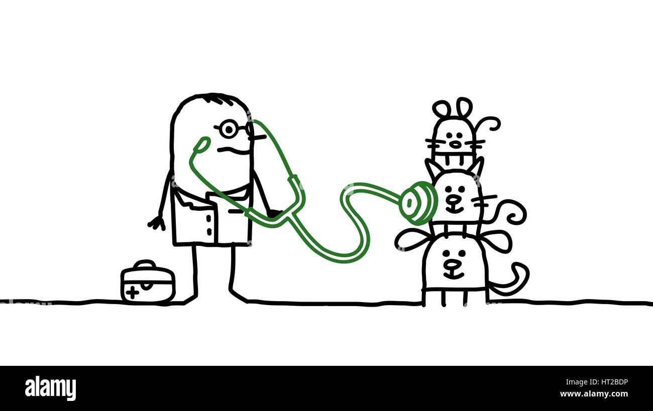 Los personajes de dibujos animados -veterinario con mascotas Foto ...