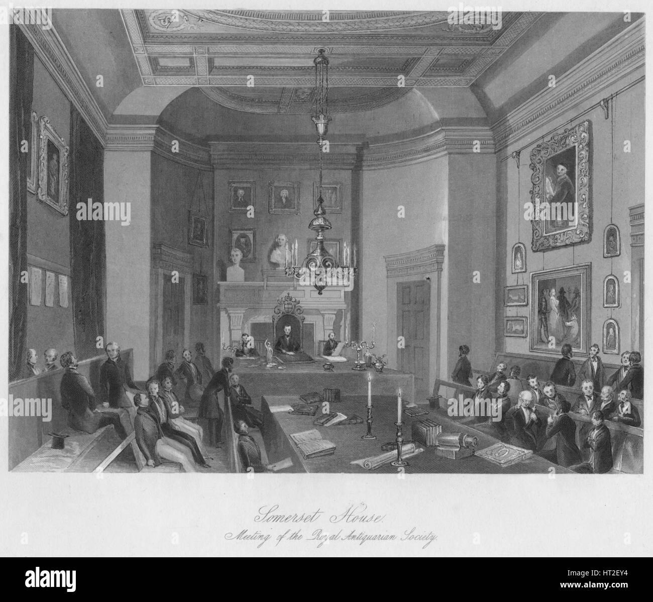 'Somerset House. Reunión de la Real Sociedad de Anticuarios', C1841. Artista: Henry Melville. Imagen De Stock