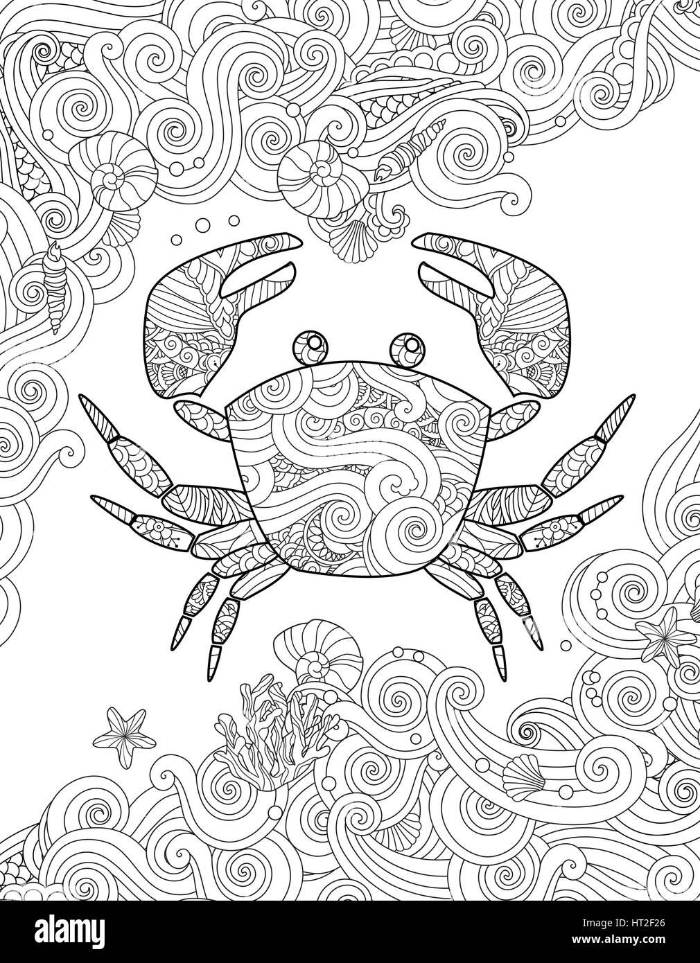 Página Para Colorear Cangrejo Ornamentados Y Las Olas Del Mar