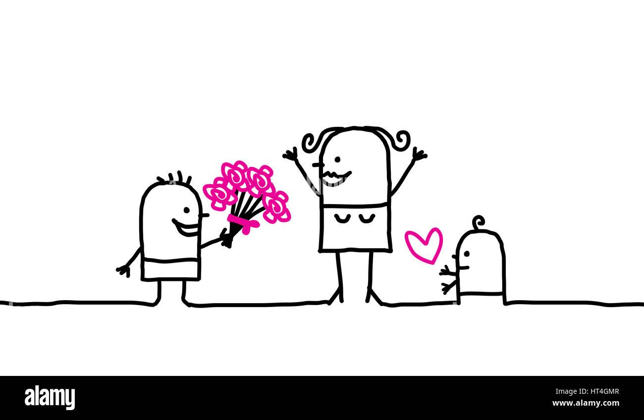 La Familia De Dibujos Animados El Día De La Madre Foto Imagen De