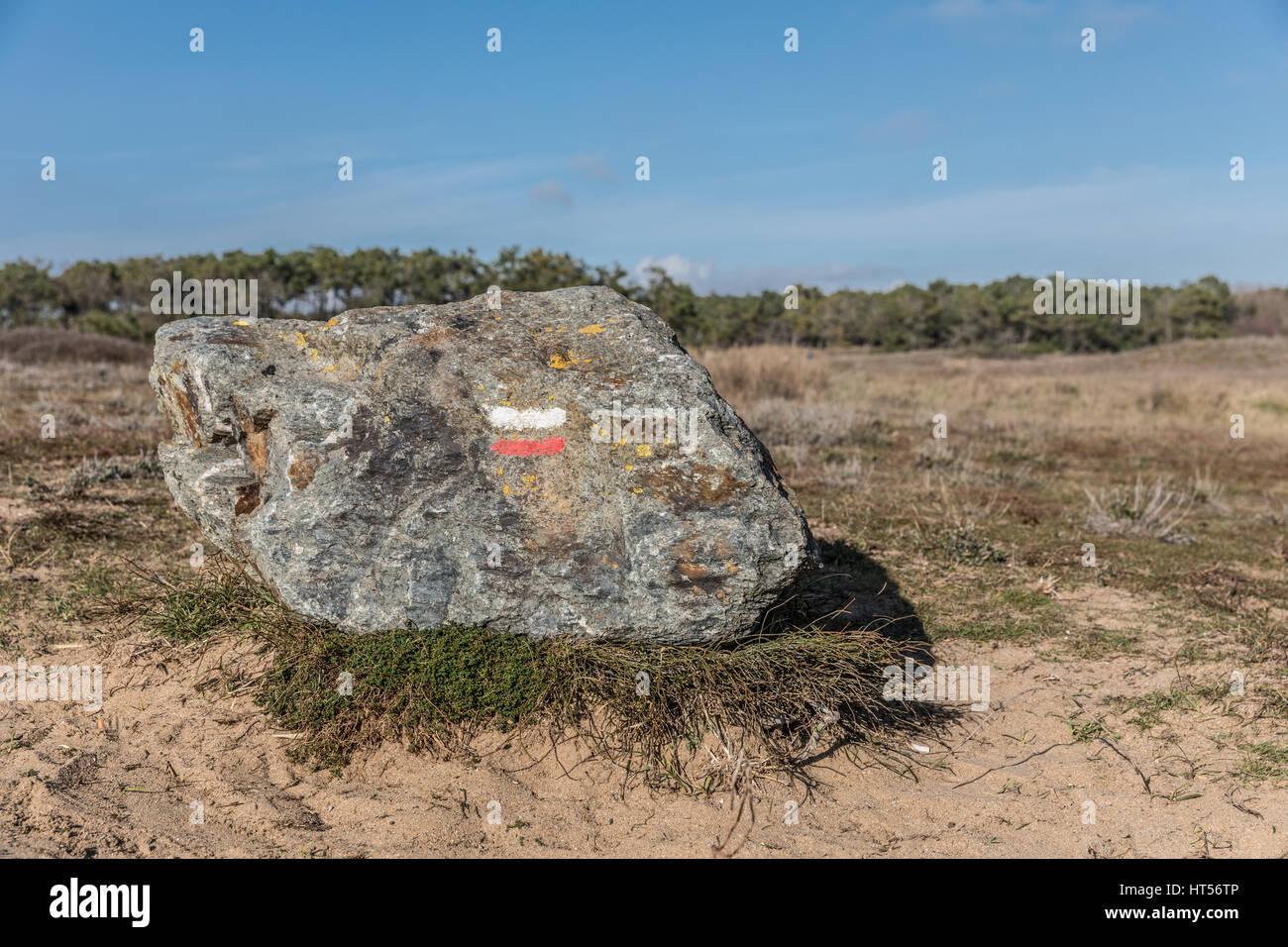 Marca de senderismo 'buen sentido' de pintura sobre roca en Bretignolles-sur-mer dunas Imagen De Stock