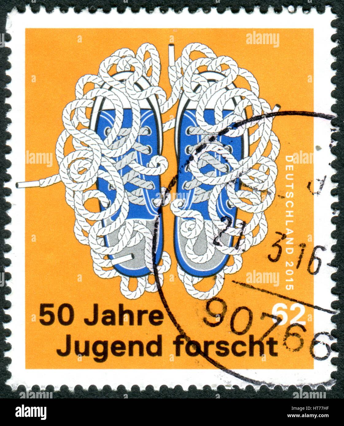 """Alemania: circa 2015: un sello impreso en Alemania, dedicada al 50º aniversario de la competición """"La Imagen De Stock"""