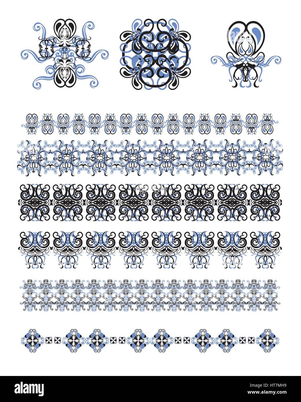 Set de vectores de arte lineal marcos y bordes para la plantilla de ...