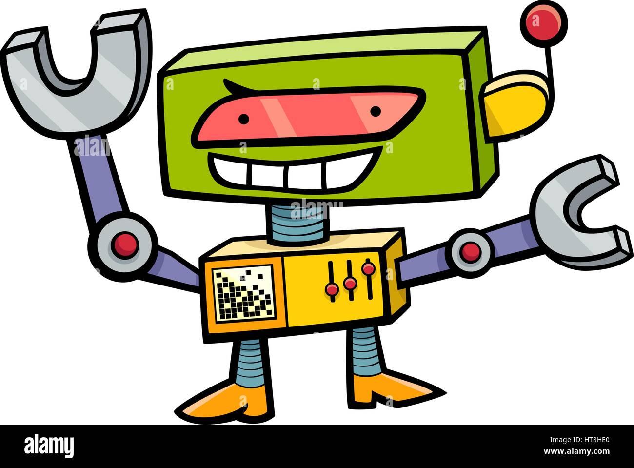 Ilustración De Dibujos Animados Divertido Robot Personaje