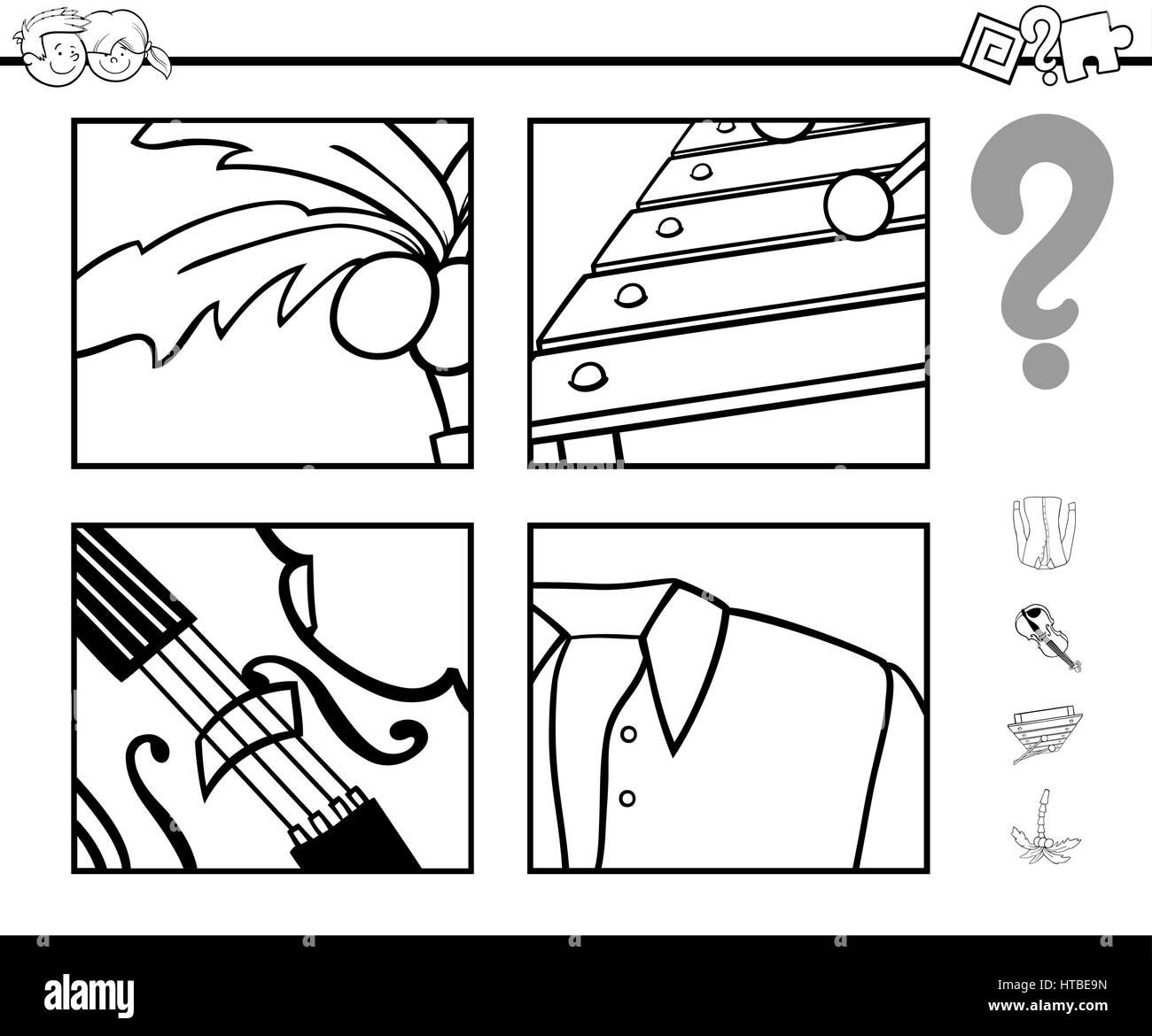 Ilustración caricatura en blanco y negro de juego educativo de ...