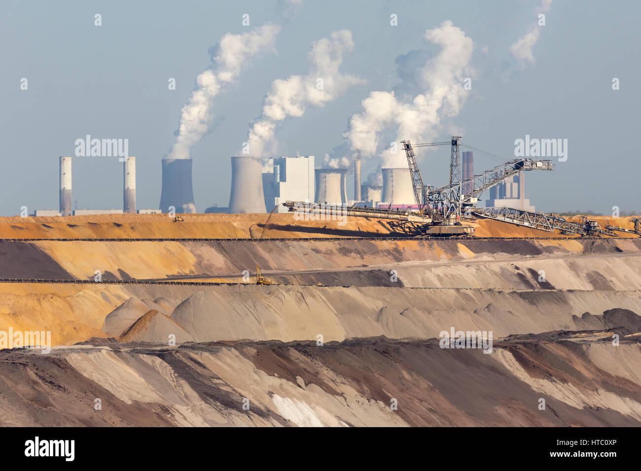 Mina de lignito a cielo abierto, Garzweiler, Renania del Norte-Westfalia, Alemania, Europa Foto de stock