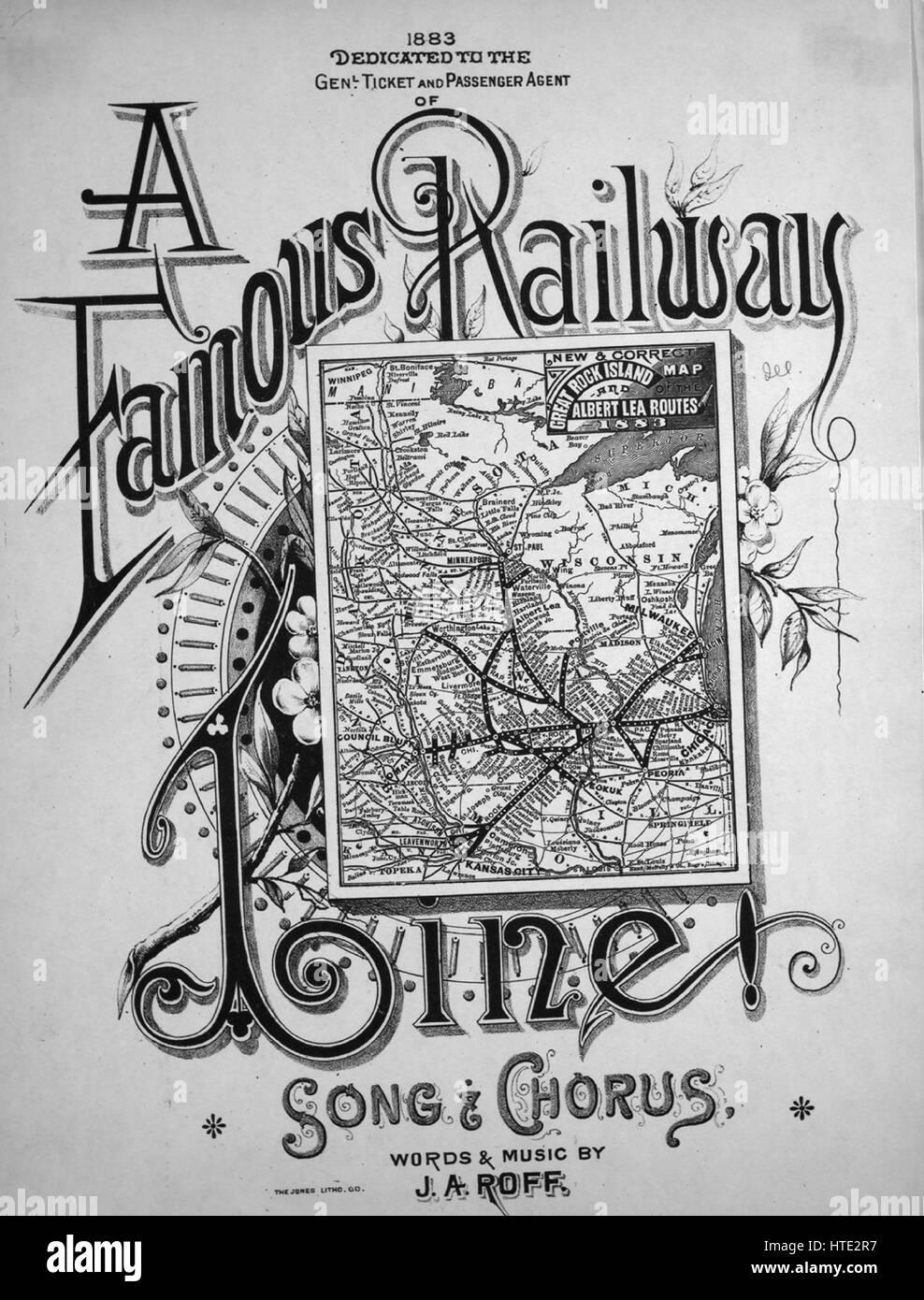 """Imagen de cubierta de partituras de la canción """"una famosa línea de ferrocarril y el coro de la canción"""", Imagen De Stock"""