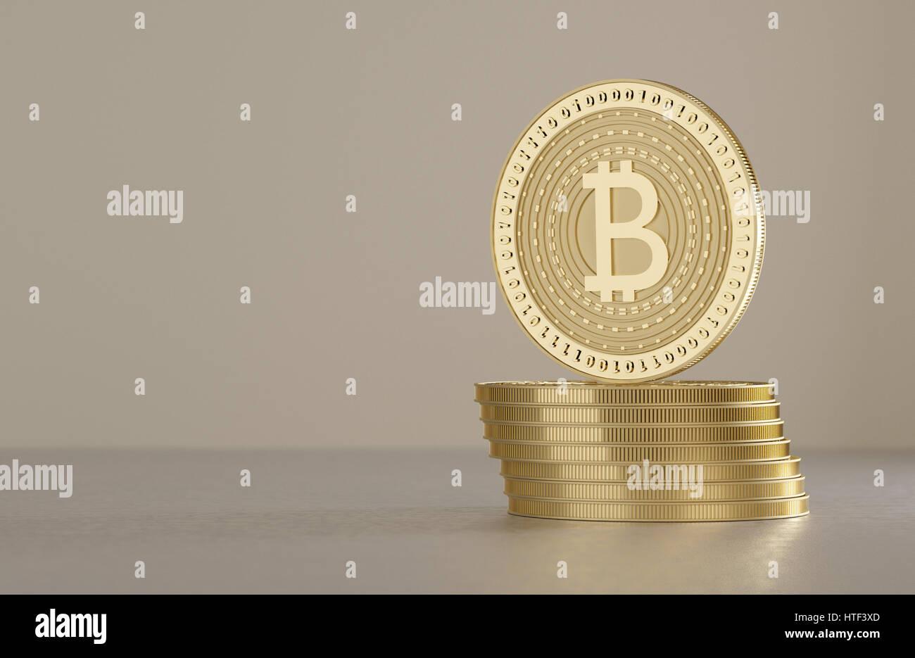 Dos color dorado brillante bitcoins de pie en el piso metálico como concepto de tecnología financiera y cripto-moneda Foto de stock