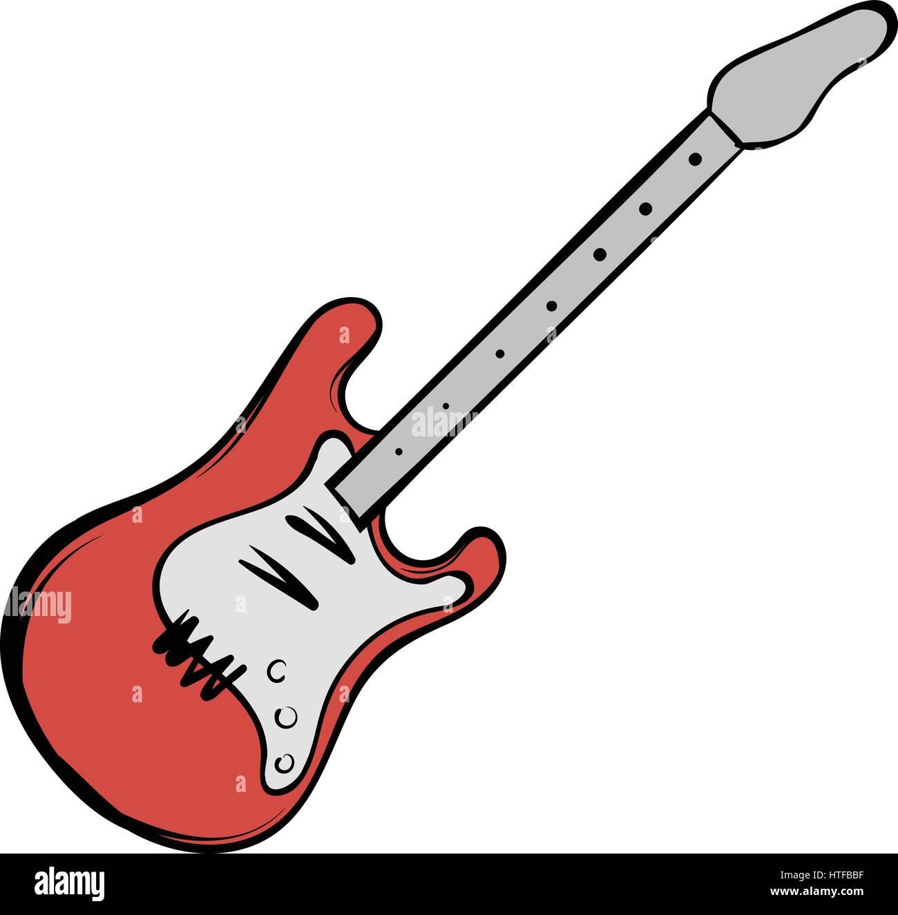 Guitarra Eléctrica De Color Rojo En El Icono De Estilo De