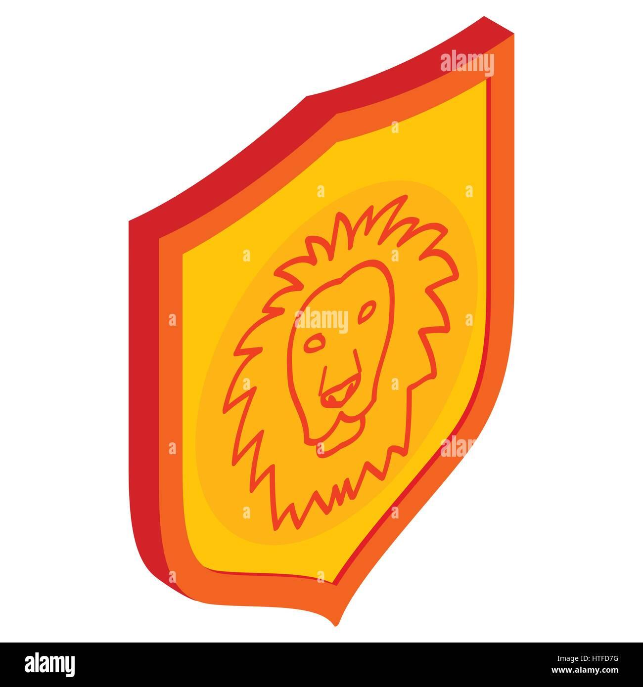 Icono de escudo de León, isométricos estilo 3D Ilustración