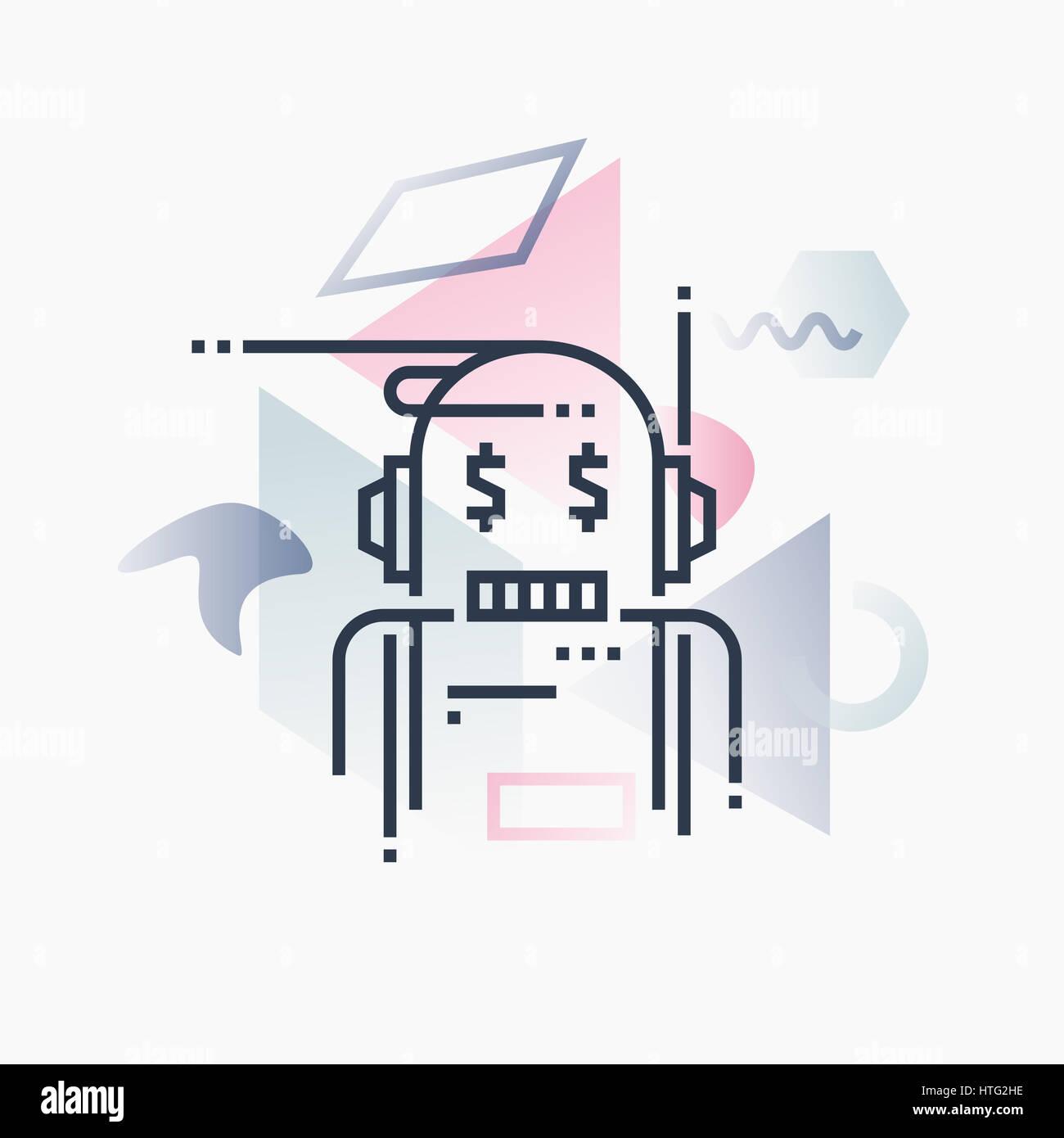 Robo-advisor, servicios financieros inteligencia artificial. Ilustración abstracto concepto. Foto de stock
