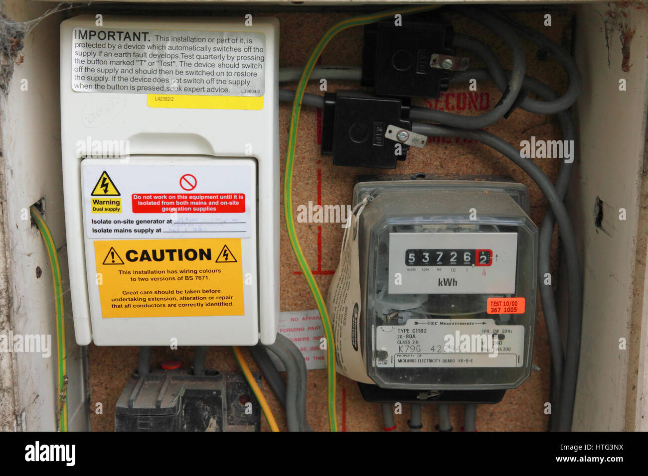 Un cuadro de medidor de electricidad que también registra la electricidad generada por los paneles solares Imagen De Stock