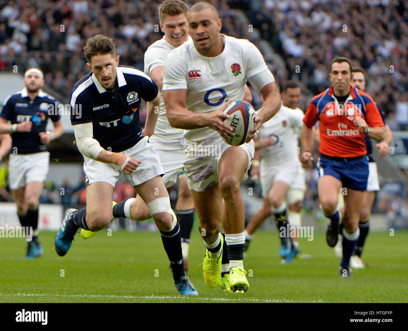 El Estadio Twickenham, Londres, Reino Unido. 11 de marzo de 2017. Seis Naciones de rugby Inglaterra vs Escocia en Imagen De Stock