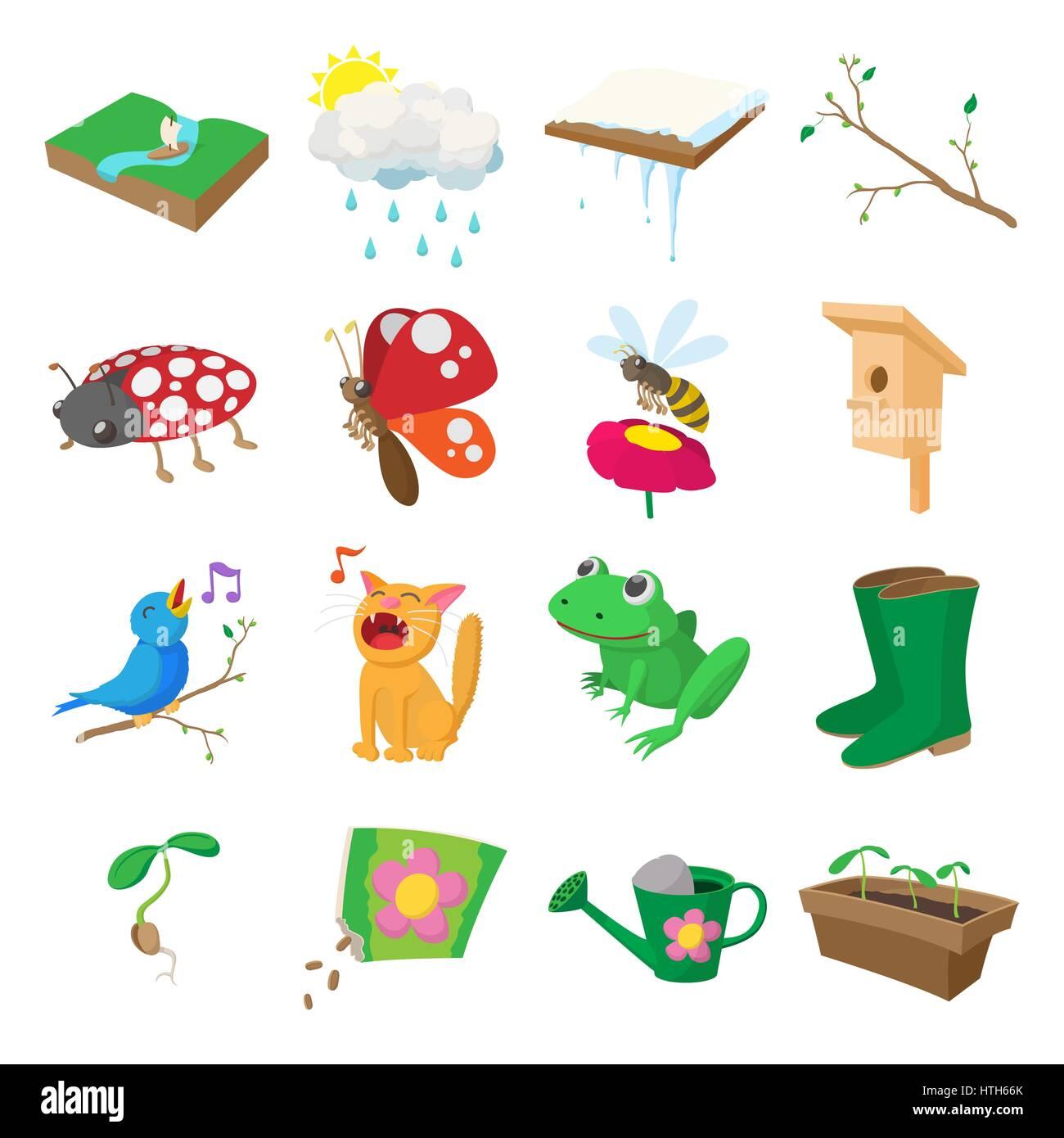 Iconos De Primavera Del Estilo De Dibujos Animados Ilustración Del