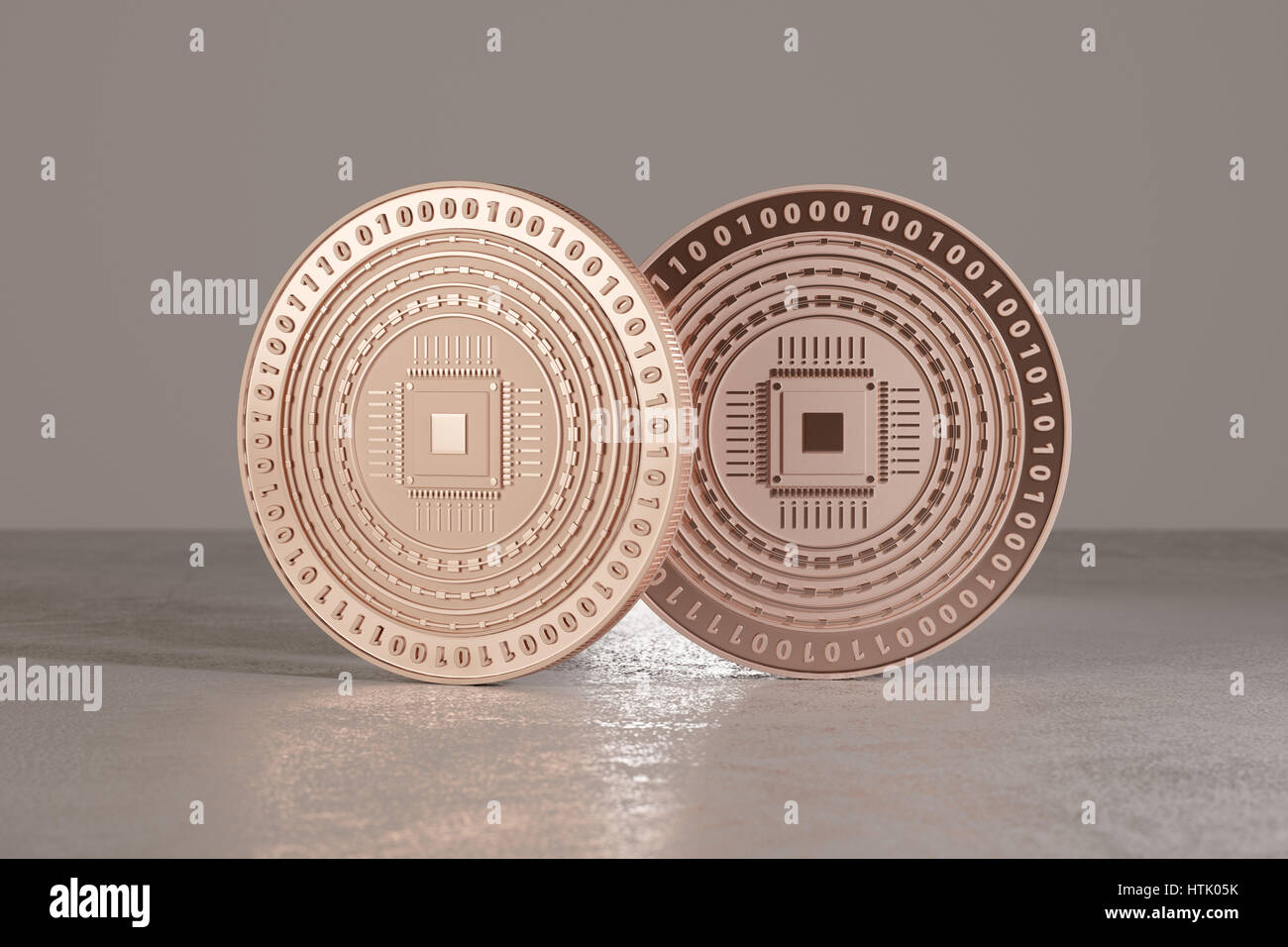 Digital cobre monedas en suelo metálico como ejemplo para bitcoins, fin-tech o de banca en línea Foto de stock