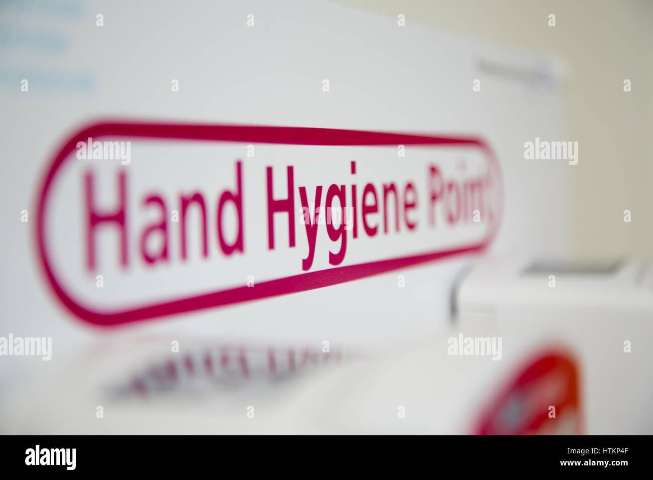La higiene de las manos en un entorno hospitalario Foto de stock