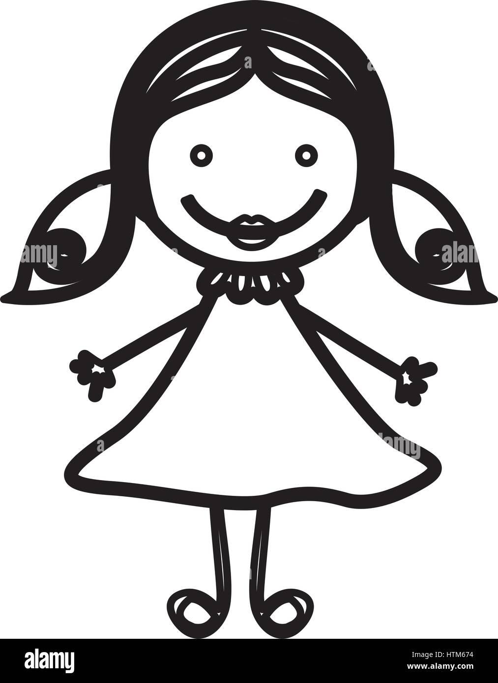 Vista frontal de la silueta sketch chica con cabello pigtails Ilustración del Vector