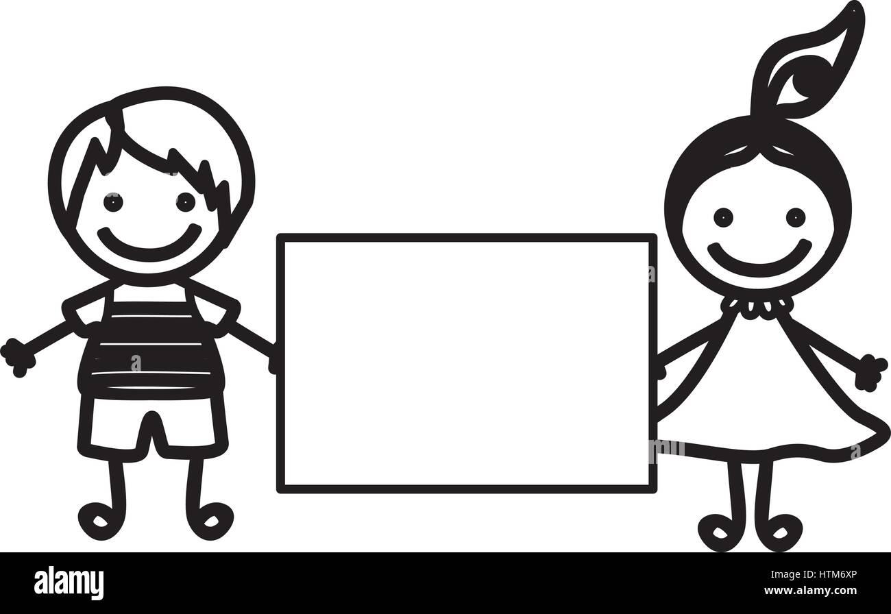 Dibujo silueta pareja chico y chica con cola de cabello y banner Ilustración del Vector