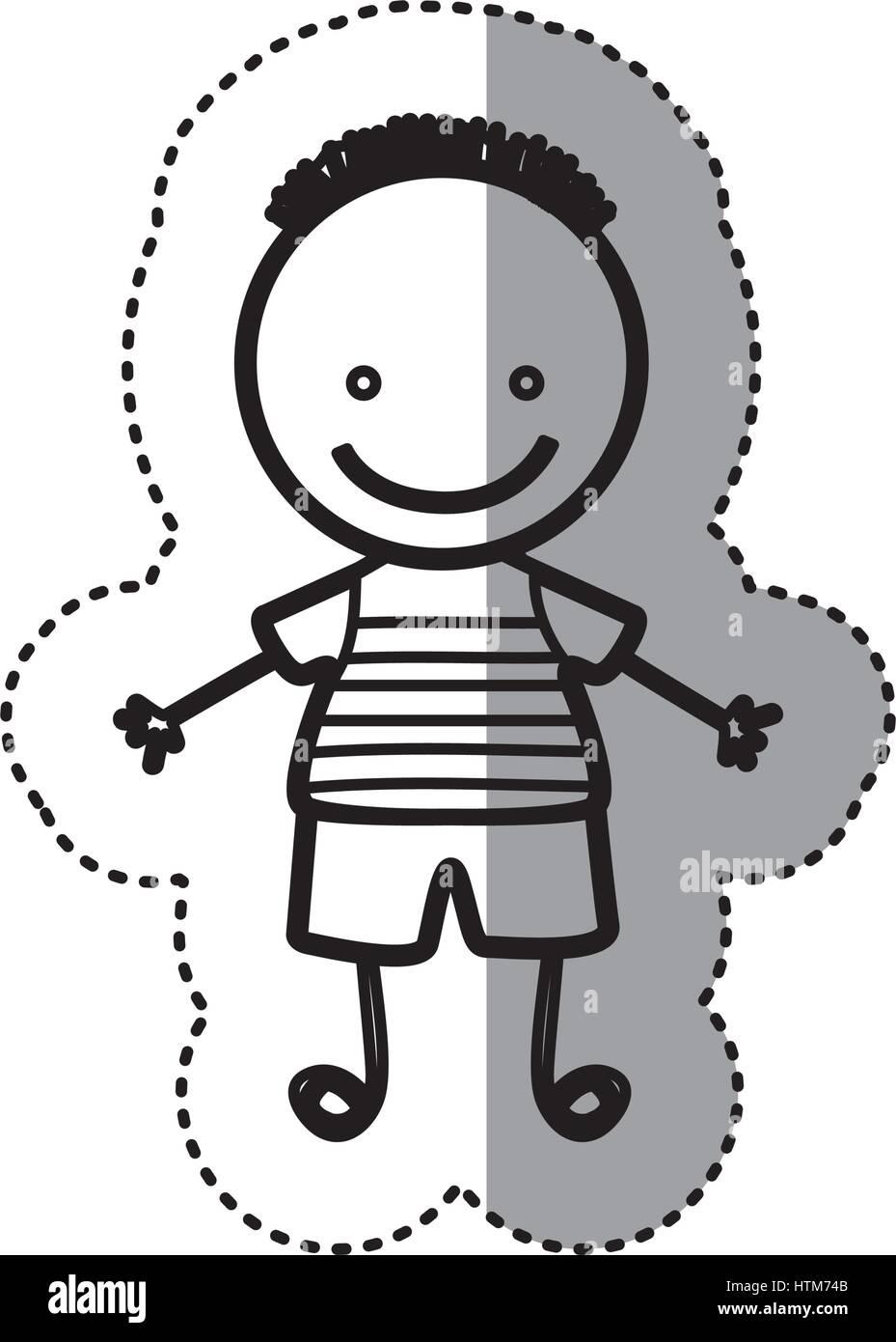 Pegatina silueta boceto caricatura chico con peinado Ilustración del Vector