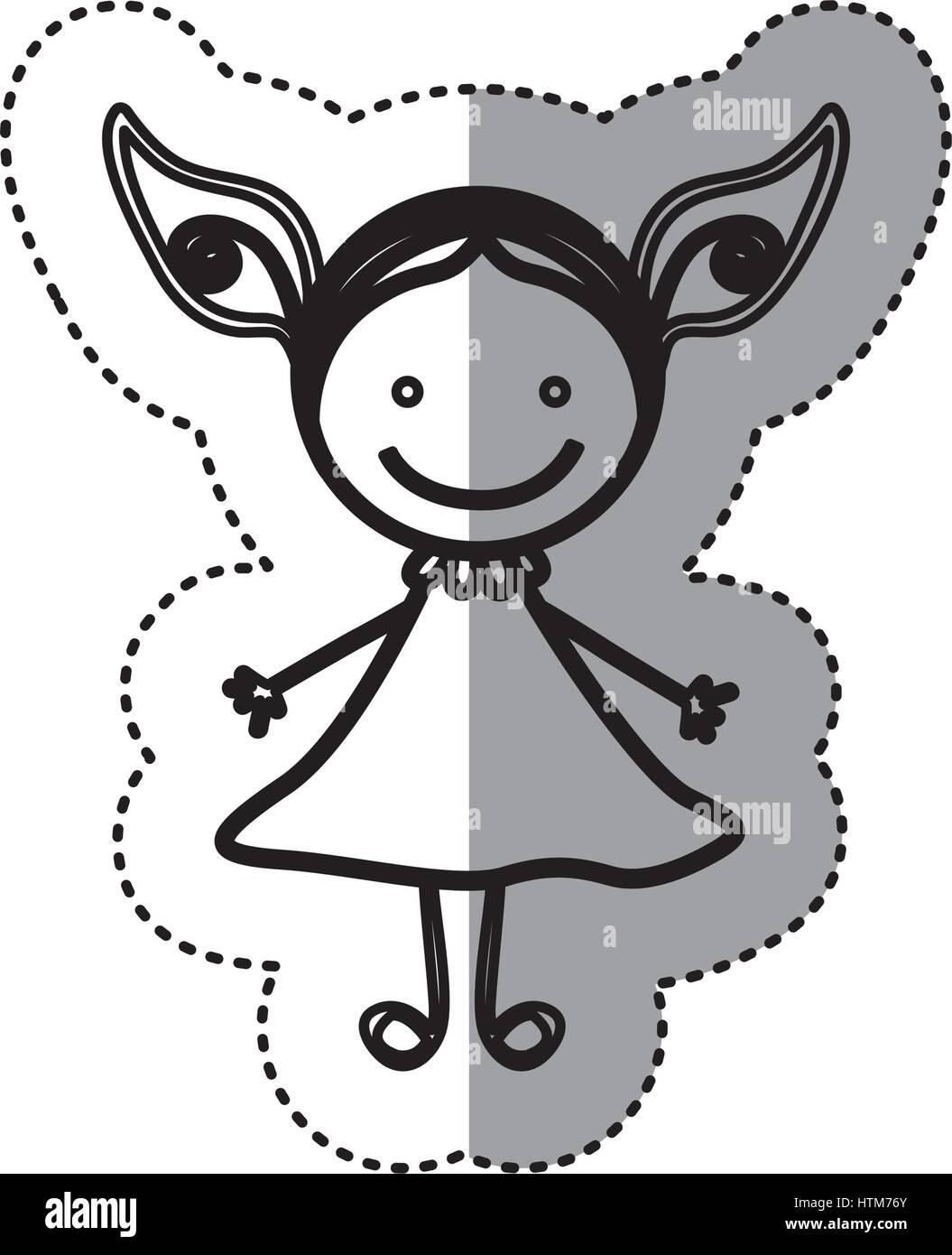 Pegatina silueta boceto caricatura chica con vestido Ilustración del Vector