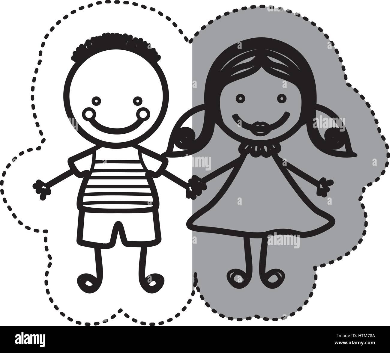 Pegatina silueta boceto caricatura pareja joven con peinado y la chica con el cabello pigtails Ilustración del Vector